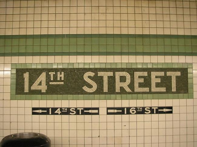 14th Street  subway station in New York City, lines F and V. Image via Wikimedia Commons.