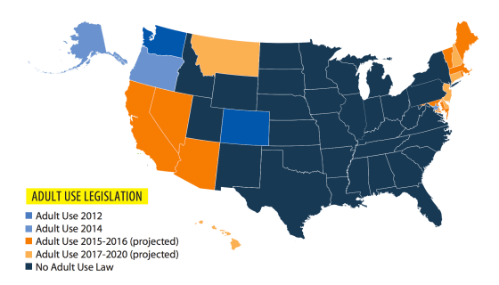 Image of US map and states that will legalize pot by 2020