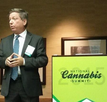 Mark Goldfogel with The Fourth Corner Credit Union speaks at the National Cannabis Summit. Image: WeedWorthy.com