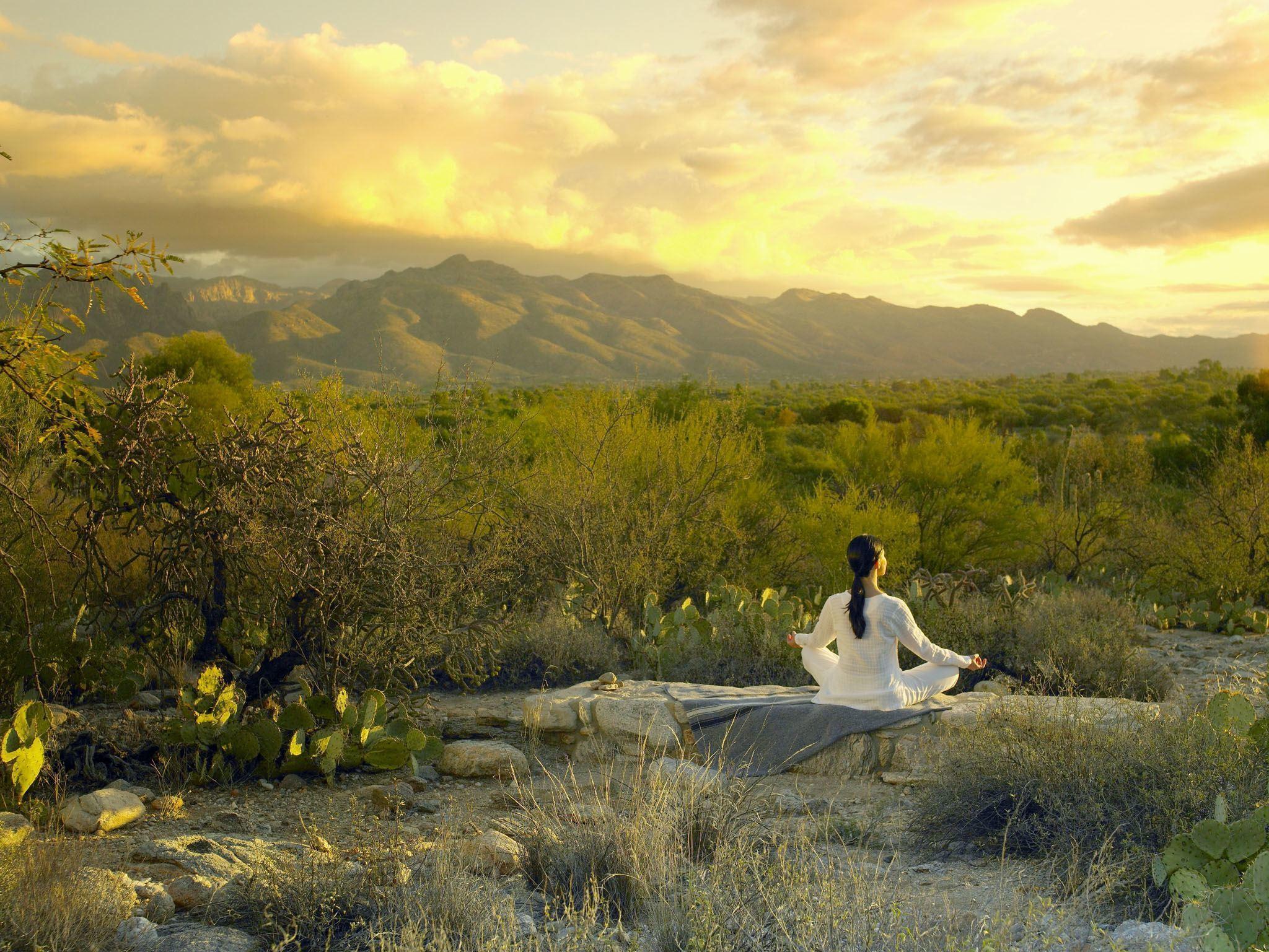 Image of lady meditating near Tucson AZ