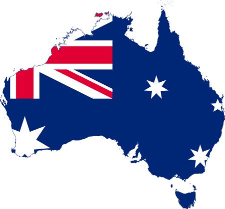 Australia map and flag. Image: Stasyan117 via Wikimedia Commons