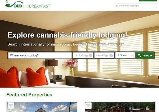 Image of a Screen shot from a marijuana friendly Bed & Breakfast website