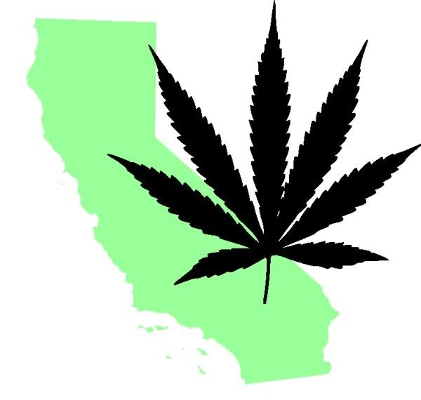 California map with cannabis leaf. Image via Wikimedia Commons