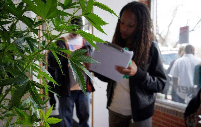 A woman looking for work in the cannabis industry fills out a form in front at the CannaSearch job fair in downtown Denver. File photo from March 13, 2014. Reuters/Rick Wilking/Files