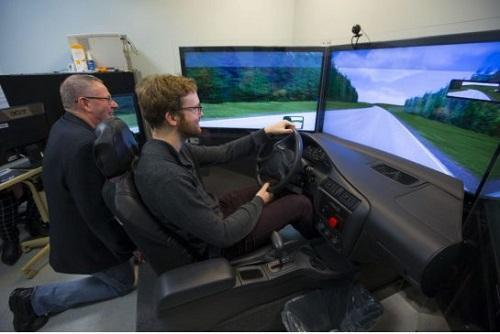 Canada's Centre for Addiction and Mental Health hopes to study and measure the effects of cannabis while driving using this driving simulator. Image: Chris So, Toronto Star