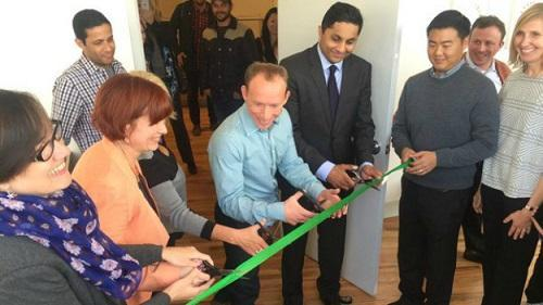 The ribbon is cut on Dispensary 33, Chicago's first medical marijuana dispensary. Image: Lisa Fielding, CBS Chicago