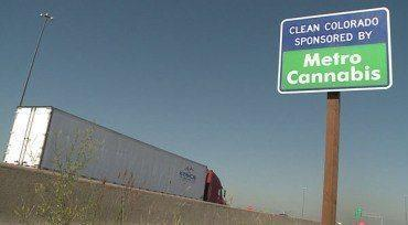 Some Colorado dispensaries pay for the cleanup of litter along sections of the roadways. In return, they get their signs put up and advertise their name.  Photo: KWGN