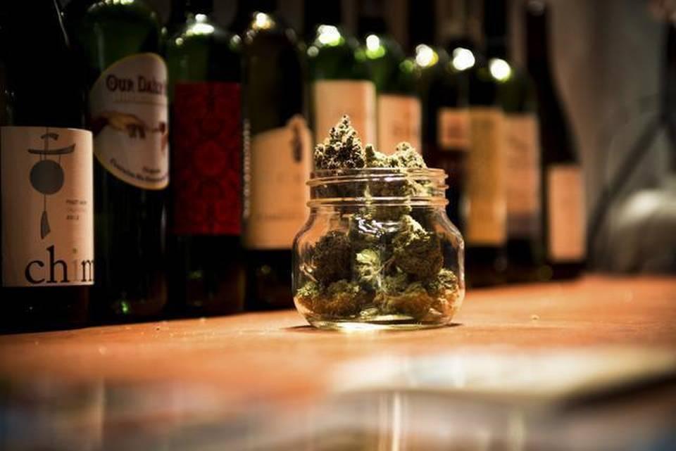 Image of marijuana and expensive wines