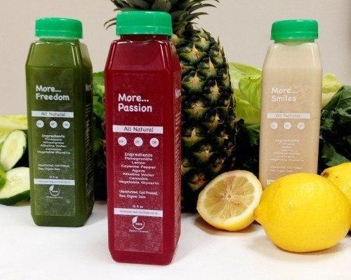Some of the cold-pressed fruit and vegetable juices, infused with cannabis, being made available in D.C. Photo: Nevin Martell