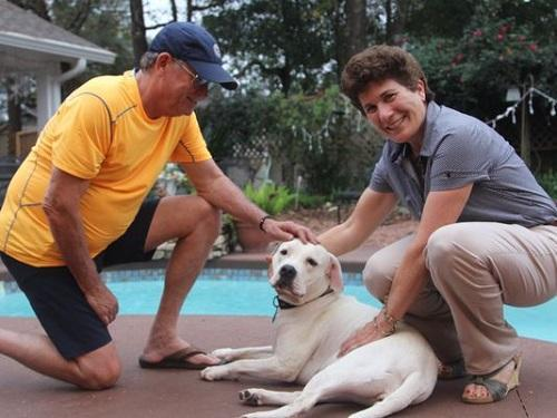 Jerry and Lisa Miller pose with their dog Dinah, who suffers through cluster seizures about once a month. Image: Karl Etters, Tallahassee Democrat
