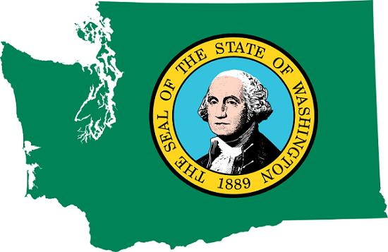 Flag Map of Washington State via Wikimedia Commons