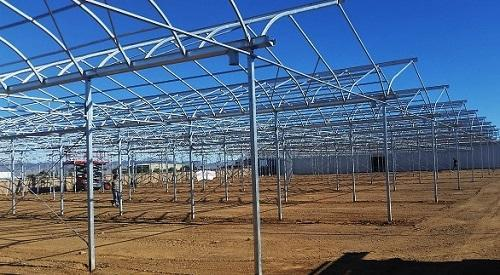 A 30,000-square foot GGS greenhouse range under construction in Arizona for medical marijuana production. Image: GGS Structures Inc.