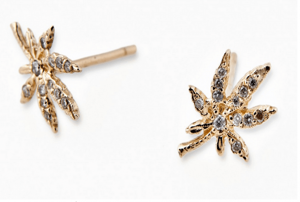 Image of gold and diamond marijuana leaf ear rings