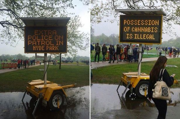 Image of electronic police bill boards warning about marijuana in Hyde Park UK 2014