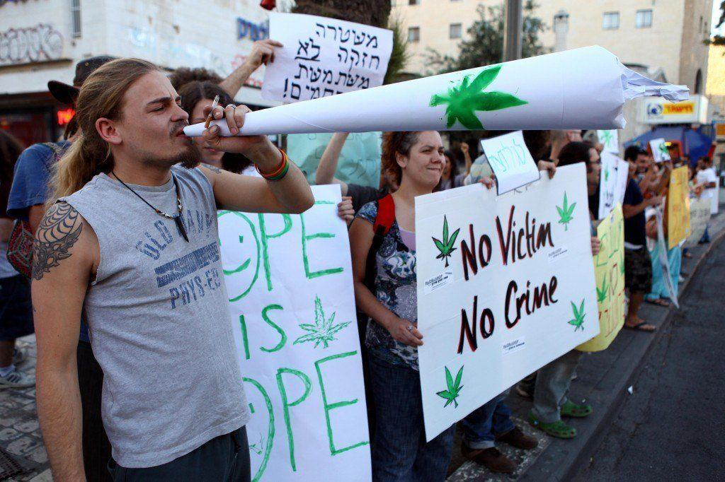 Image of marijuana legalization protests in Israel