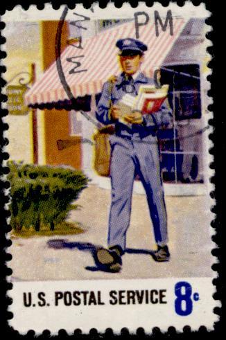 Mailman on 1973 U.S. stamp. Image via Wikimedia Commons