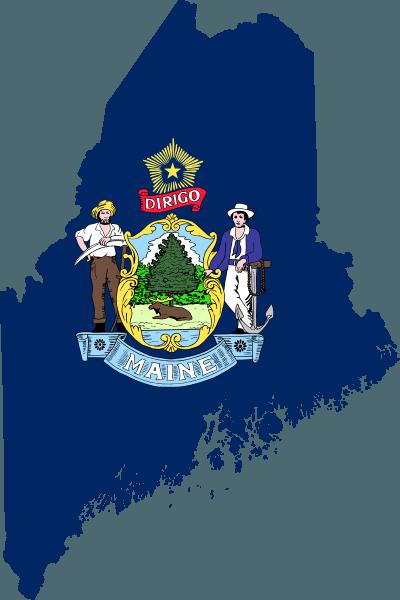 Maine map and state flag. Image: Darwinek via Wikimedia Commons