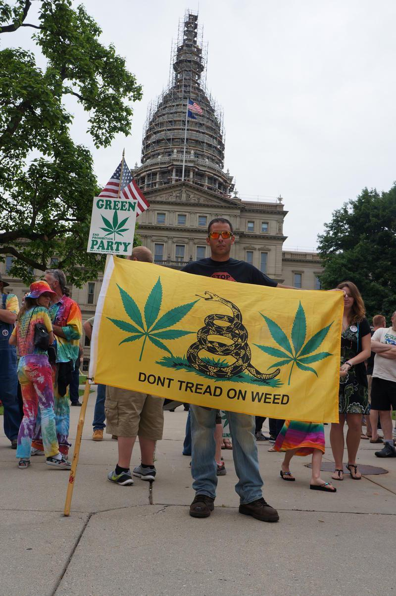 The group MILegalize launched its signature gathering efforts at a rally in front of the state Capitol last week. Credit Jake Neher / MPRN