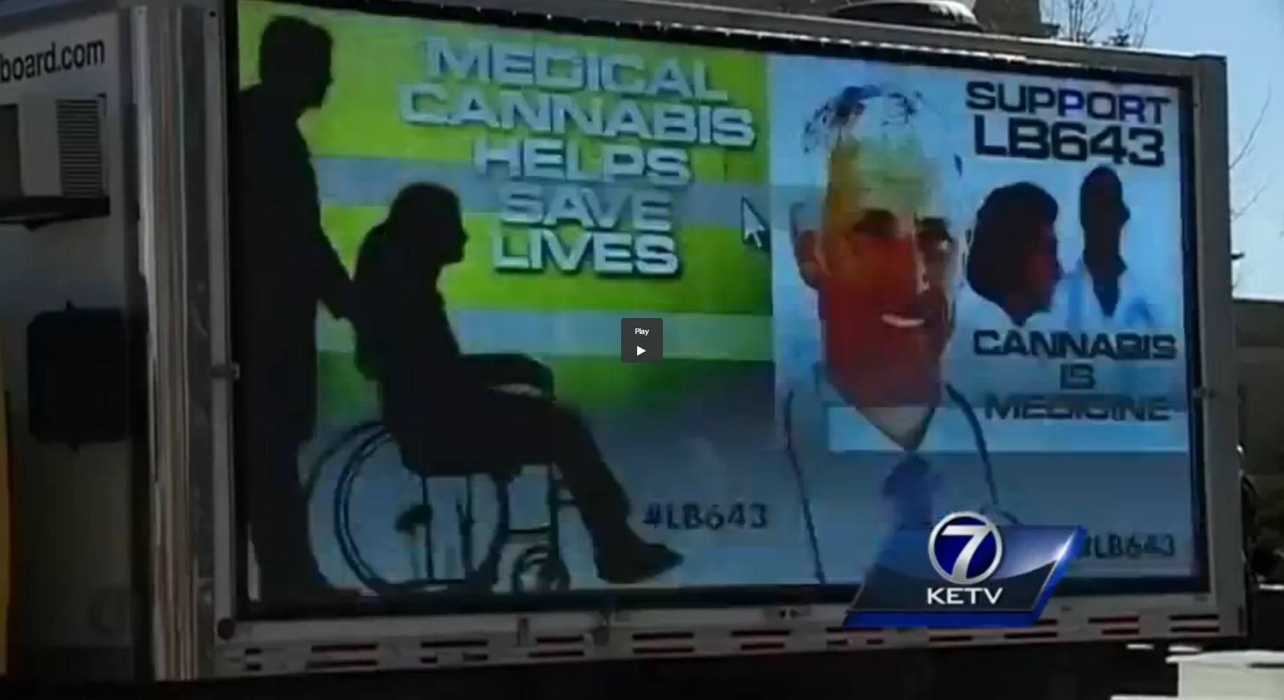 Image of Digital advertising truck promoting legalized medical marijuana in Nebraska