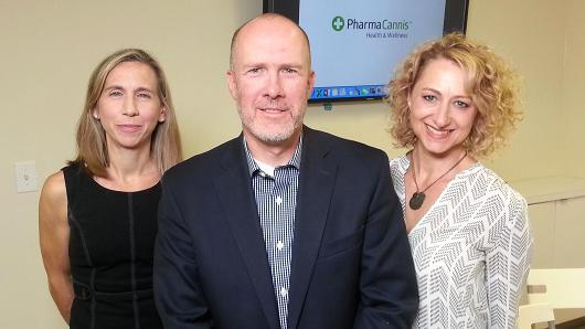 Christina Leja, Teddy Scott and Norah Scott of Pharmacannis. Image: Lawrence Collins via CNBC.com