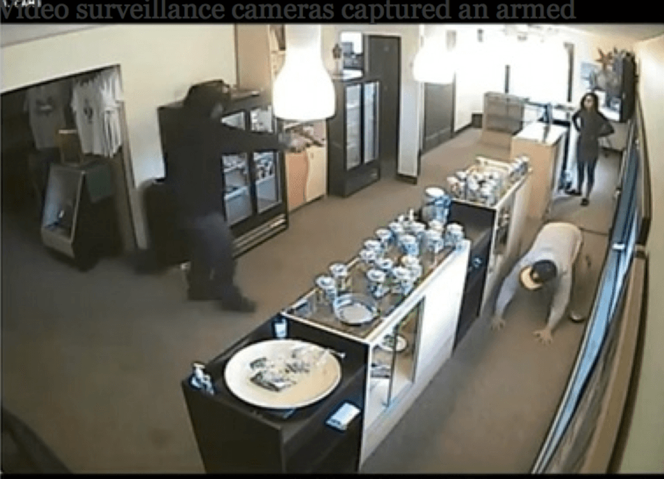 May 2013 video surveillance shows an armed robbery at the ReLeaf medical marijuana dispensary in Portland