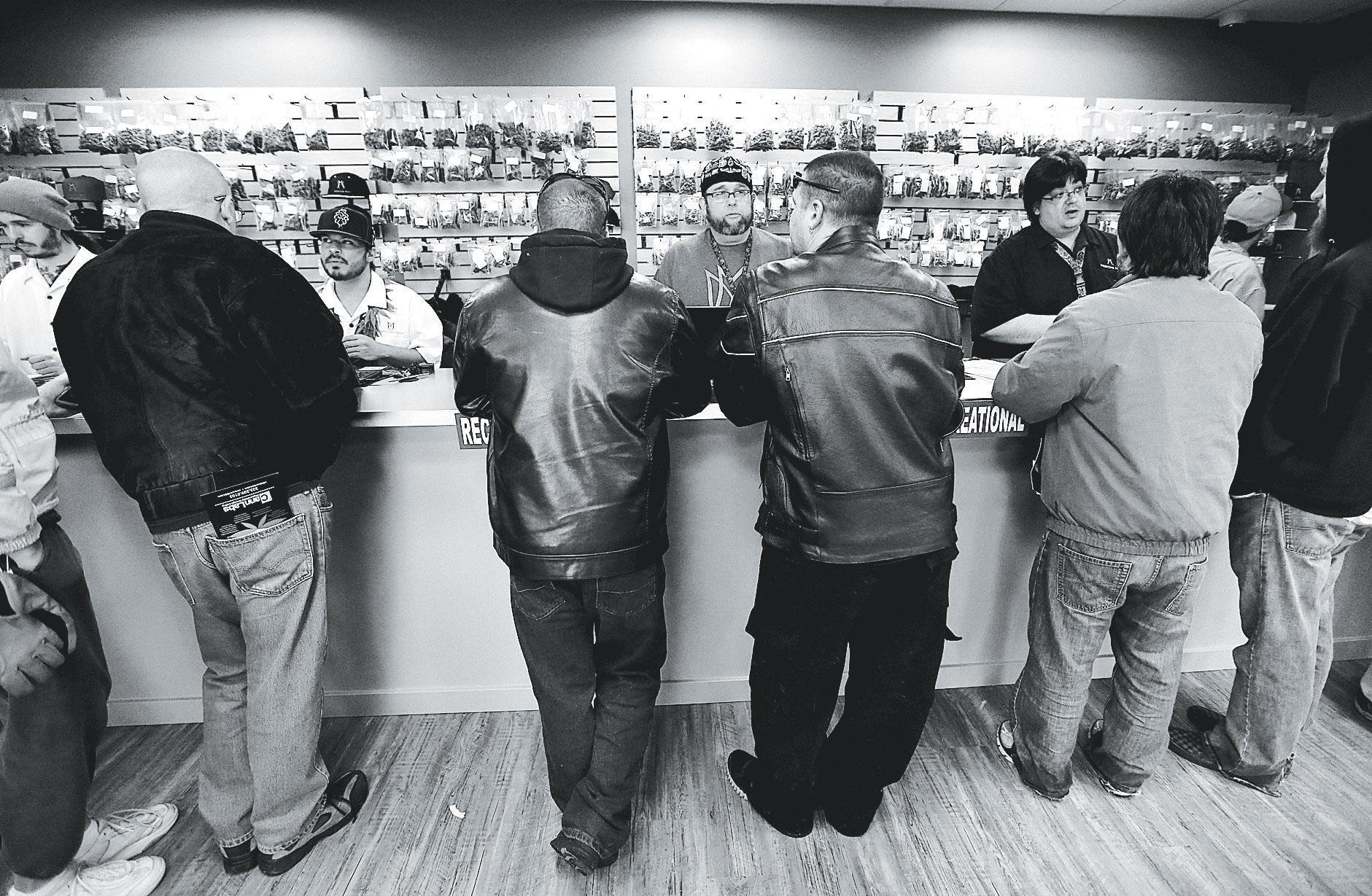 Image of legal marijuana sales in a recreational dispensary in Colorado