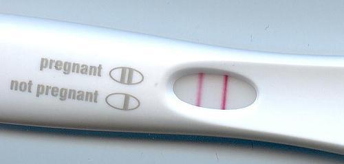 Positive pregnancy test. Image: Klaus Hoffmeier via Wikimedia Commons