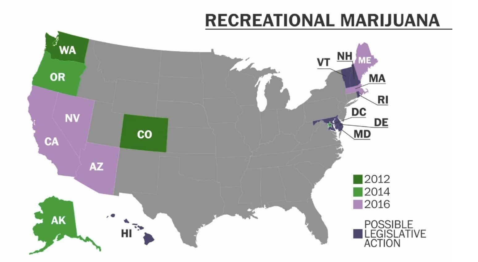 Image of US Marijuana Legalization Map 4-2015