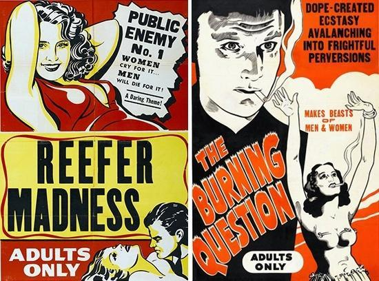 Reefer Madness, also titled A Burning Question in some prints, was a 1930s propaganda film intended to spook parents about drug use. Image via BU.