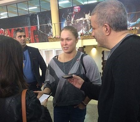 Ronda Rousey after her open workout at Dinamo center, Yerevan, Armenia. Image: Narek75 via Wikimedia Commons