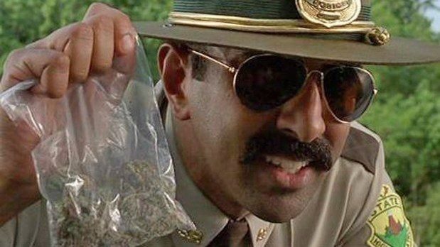 Image of a police officer holding a bag of illegal marijuana