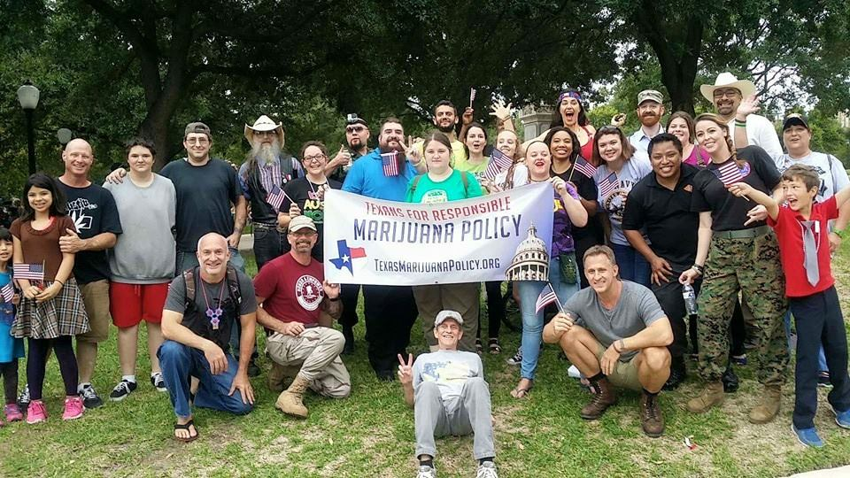 Veterans and supporters finishing up the Veterans Day Parade in Austin Texas. Image: Texans for Responsible Marijuana Policy via Facebook