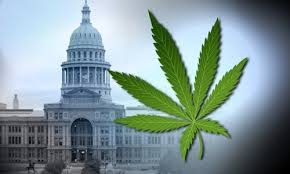 Cannabis leaf and Texas State Capitol Building
