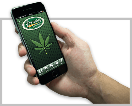 Image of The Grass Station's Mobile App for easy marijuana dispensary use