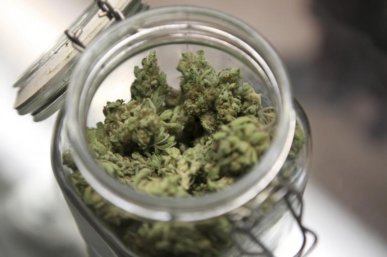 Image of legal marijuana in a jar