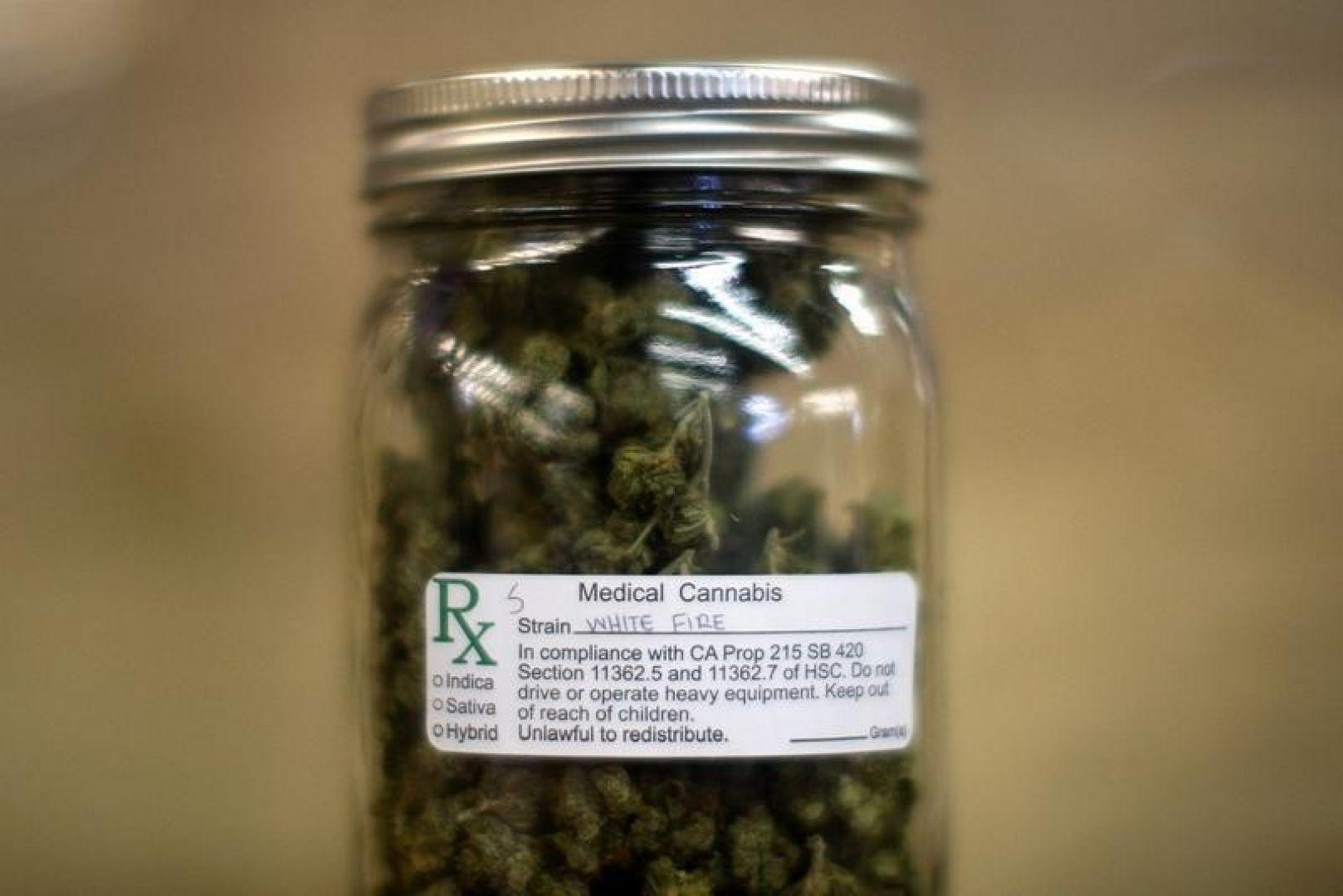 Image of a jar filled with legal medical marijuana