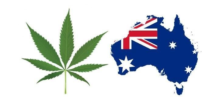 Australia and cannabis leaf