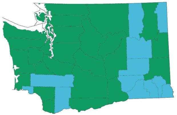 Counties in Washington that have at least one legal marijuana store.