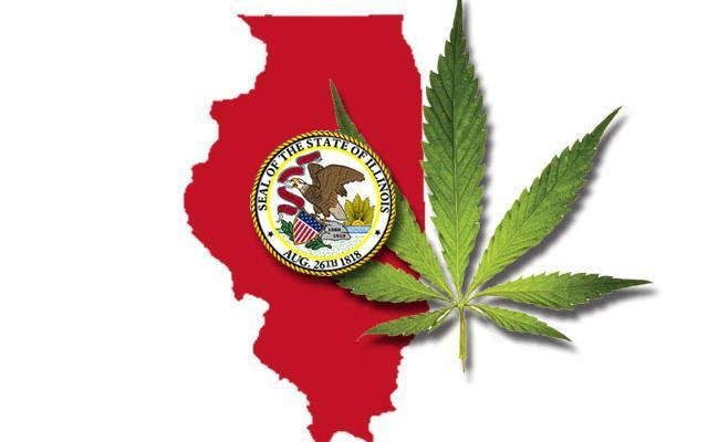 Illinois state map and cannabis leaf