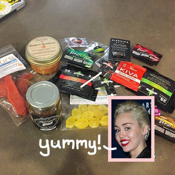 Image of Miley Cyrus with marijuana edibles