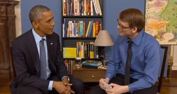 Image of President Obama and Hank Green talking about legalized marijuana